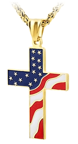 Gold Plated American Flag Cross Necklace